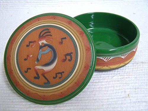 Kachina House Native American Navajo Red Clay Medium Round Jewelry Box With - Kachina Kokopelli