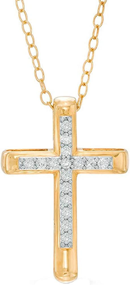HN Jewels 14K Yellow Gold Plated Silver 0.12 Ct Sim Diamond Cross Pendant Neckalce W//18 Chain