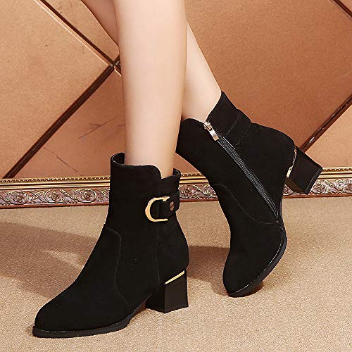 Mujer Cabeza Bola Color Cuña Zapatos 3 Redonda Bazhahei Botas De Para Boots Gamuza Zipper Botines Pure Punta Ante Zapatillas Con Black Pelo a7q5Zx