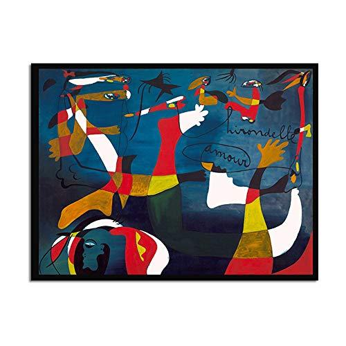 Poster De Impresion De Arte Pintura De Lona Cuadro De Pared,Pintura En Tela,Arte Moderno Juan Miro Fauvismo Cartel Para Colgar En La Pared Fotos Salon Dormitorio Decoracion Ningun Marco Basico D