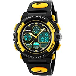 Jelercy Multi Function Digital Watch LED Quartz Water Resistant Sport Watches for Boys Yellow