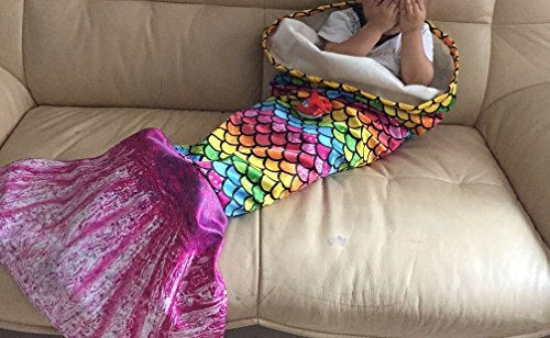 Opall 2017 Latest Cozy Soft Rainbow Mermaid Tail Blanket for kids, with Scales apply on all seasons pink small pink