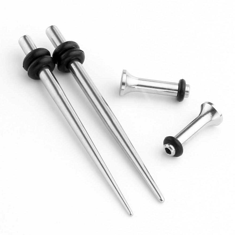PiercingJ 4pcs 12G-00G Stainless Steel Tapers Stretcher + Ear Single-flared Tunnel (Silver) (12g=2mm)