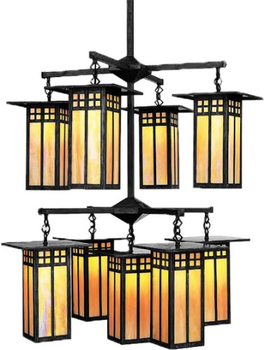 Arroyo Craftsman GCH-9/4/4-1GW-BK Glasgow Collection 9-Light Chandelier, Black with Gold White Iridescent Glass (Craftsman Collection Pendant)