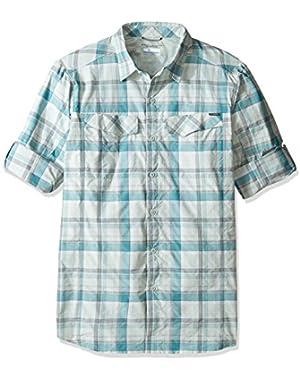 Men's Big-Tall Silver Ridge Plaid Long Sleeve Shirt, Teal Window Pane, Large