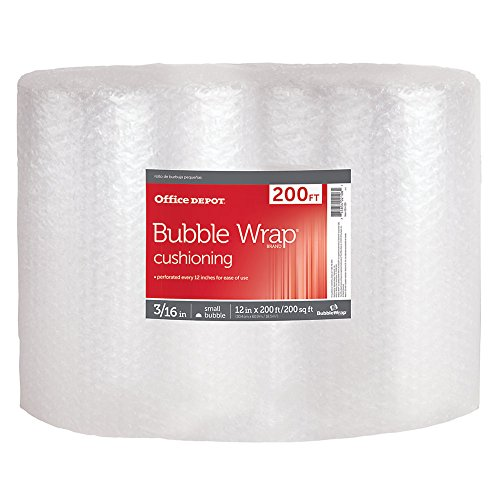 Office Depot Brand Bubble Roll, 3/16in Thick, Clear, 12in x 200ft