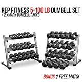 Cheap Rep 5-100 lb Rubber Hex Dumbbell Set with 2 Racks and 2 Free Rubber Mats