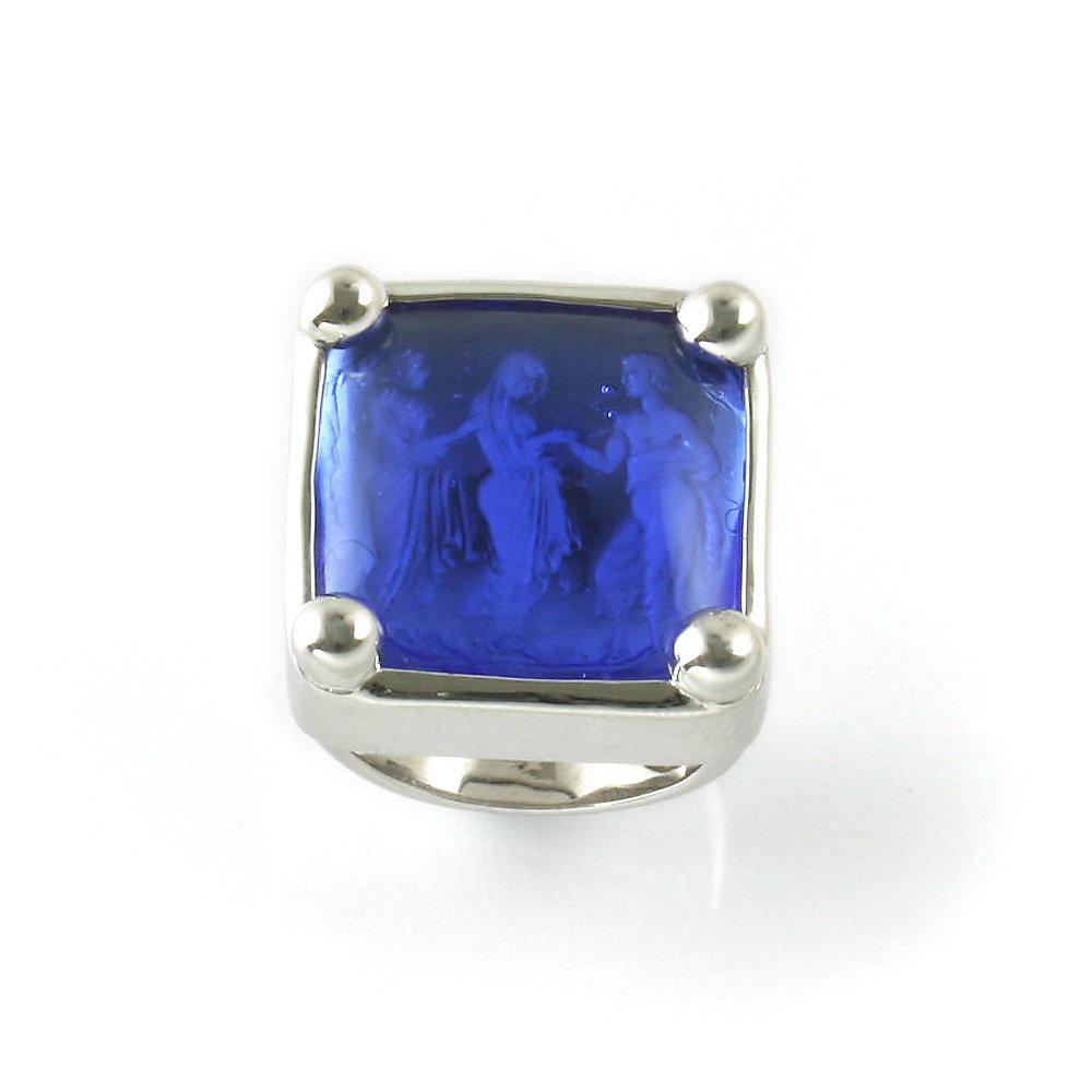 Classic Greek Silver Size 7 Ring With Blue Cobalt Venetian Glass Antique Imprint by Erika Collection