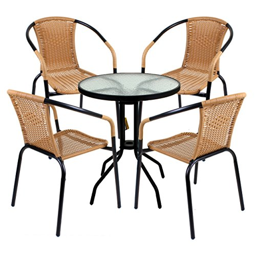 Marko Outdoor 5 Piece Bistro Set Garden Patio Tan Wicker Rattan Outdoor Furniture Table Chairs