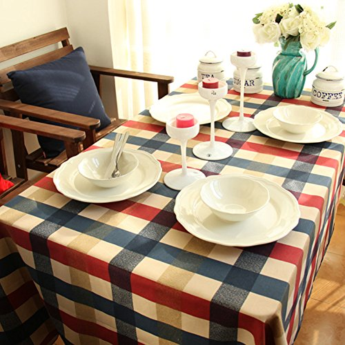 Price comparison product image Kingmerlina Cotton Linen Rectangle Vintage Checked Tablecloth Picnic Cloth Polyester Multi Size