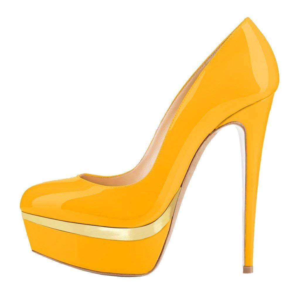 Chris-TPlatform Heels - Zapatos Cerrados Mujer 5 B(M) US|Yellow Y-double Platform/Red B0tt0m