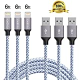 Lightning Cable, YOKERSU 3PACK 6Feet Extra Long Nylon Braided Charging Cable Cord Lightning to USB Cable Charger Compatible with iPhone 7/ 7 Plus/6/6s/6 plus/6s plus/ 5s/5c,iPad, iPod (white)