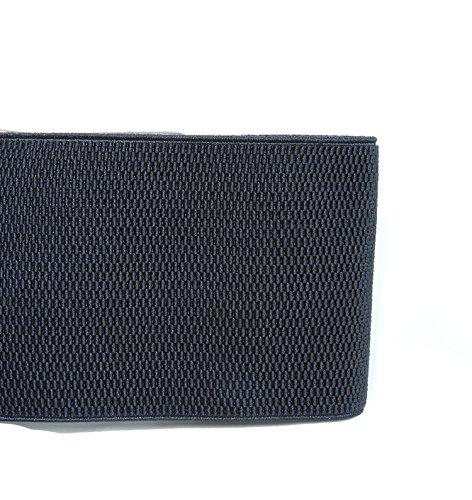 "Modeway Women's 4"" Wide Leather Silver Buckle Elastic Stretch Cinch Waist Belts (XL-XXL, Black)"