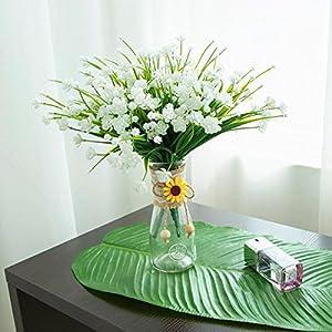 LoveniMen Artificial Camellia Flowers, Plastic Daffodils Fake Plants Wedding Bridal Bouquet Party Indoor Outdoor DIY Home Garden Verandah Corridor Table Arrangements Decoration - White 8pcs 5