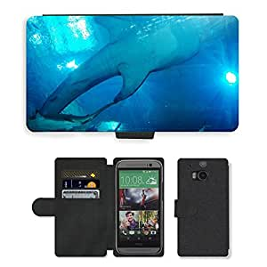 PU LEATHER case coque housse smartphone Flip bag Cover protection // M00133538 Tiburón ballena Tiburones Acuario de // HTC One M8