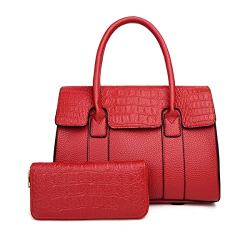 La Moda De Las Mujeres 2 Unids Conjuntos Bolso Del Bolso De Hombro Satchel Cocodrilo Bolso De Mano Monedero Multicolor Red