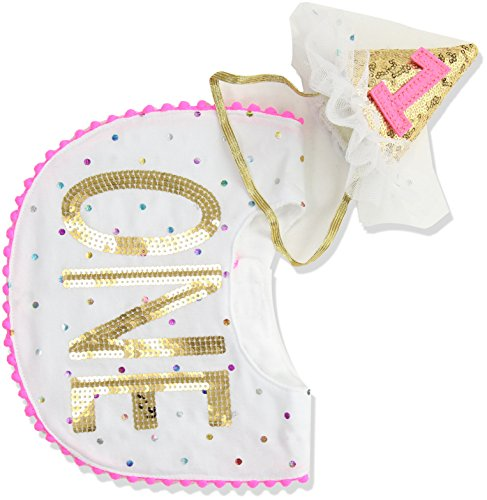 Mud Pie Baby Girls First Birthday Cake Smashing Set, white, One Size -
