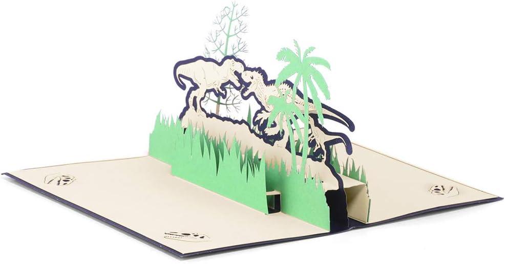 Tarjeta de felicitación 3D con diseño de dinosaurio para el día del padre, día de la madre, día de la madre, Navidad, cumpleaños, regalo de un solo dinosaurio, color verde