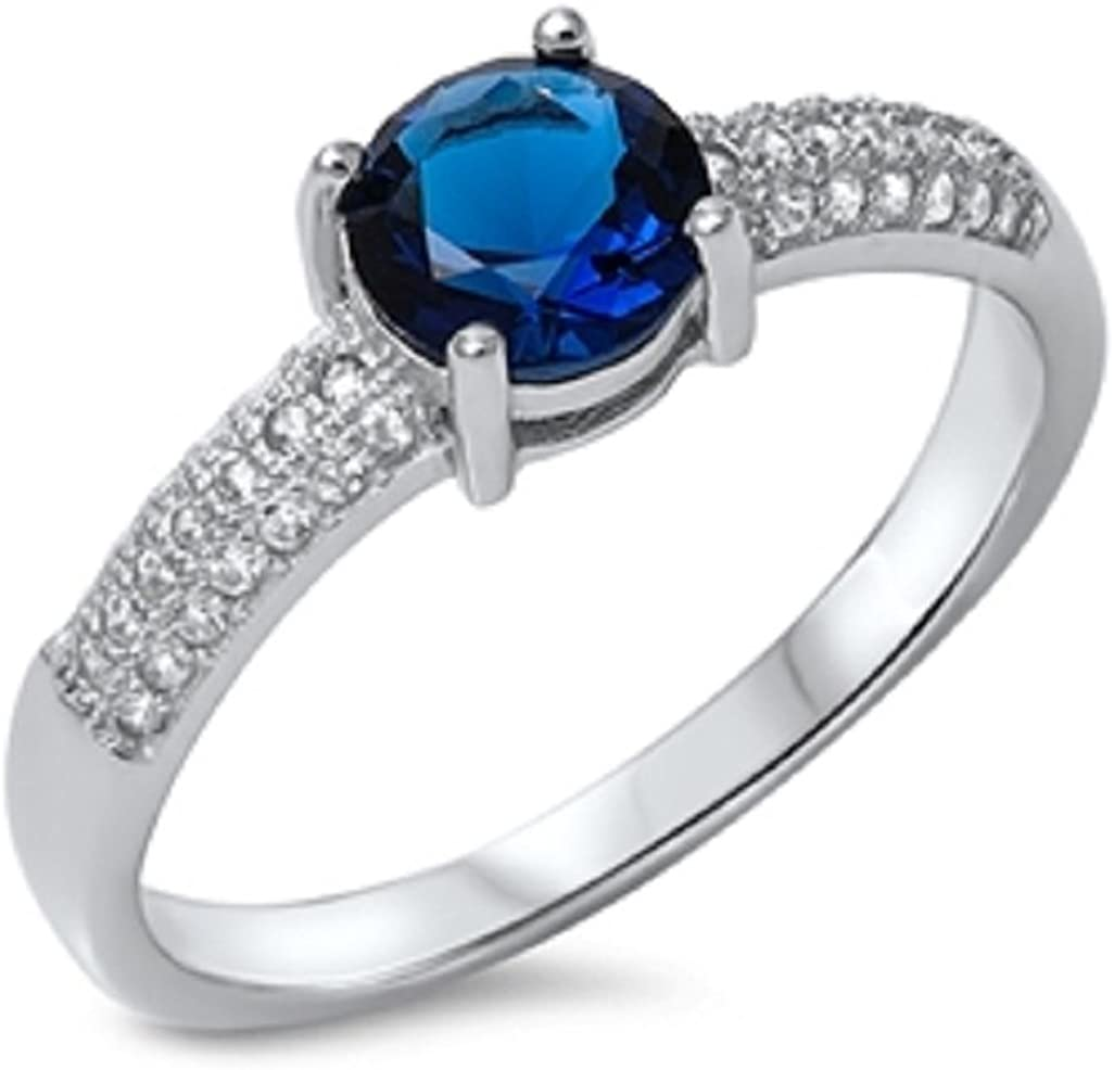 CloseoutWarehouse Round Cut Simulated Sapphire Cubic Zirconia Wide Band Ring Sterling Silver