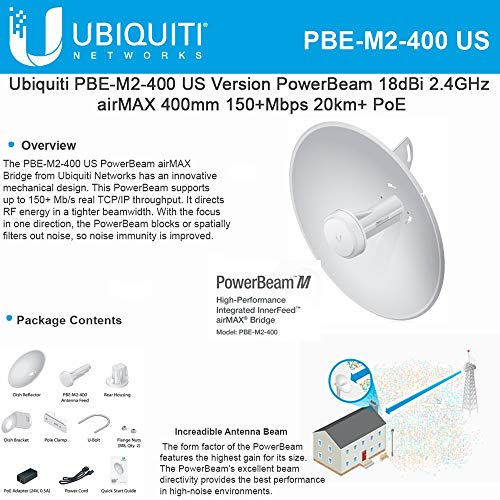 PowerBeam M2 PBE-M2-400 2.4GHz Airmax Bridge Reflector Dish Antenna Radio with PoE by UBNT Systems (Image #1)