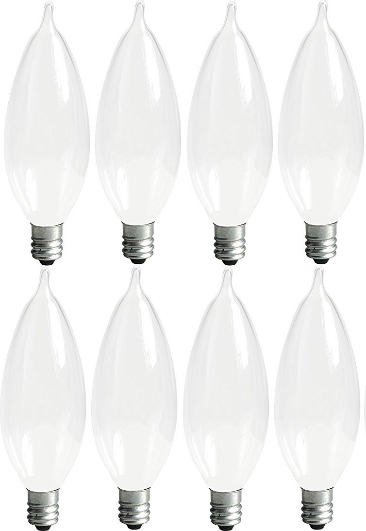 GE Lighting Soft White 66106 40-Watt, 360-Lumen Bent Tip Light Bulb with Candelabra Base, 8-Pack