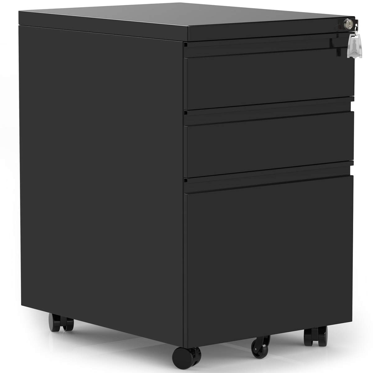 Modern Luxe 3 Drawers Mobile File Cabinet with Lock, Black File Cabinet with Wheels, Fully Assembled