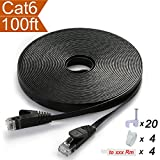 extra ethernet ports - Flat Ethernet Cable Cat 6 100 ft Black with Snagless RJ45 Connectors - Slim Long Internet Network Cable Cat6 Computer Cable - At a Cat5e Price but Higher Bandwidth - 100 Feet (30 Meters)