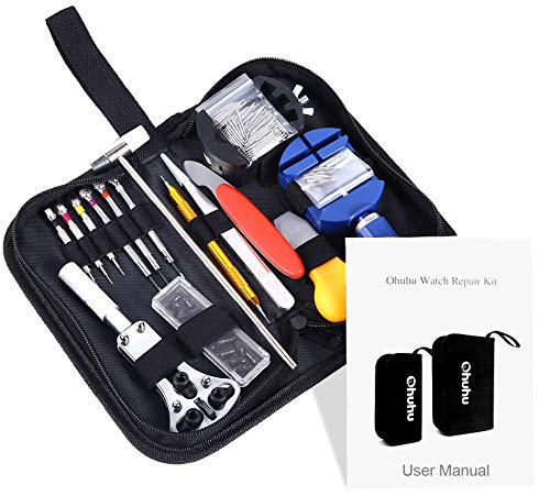(Ohuhu 147 PCS Watch Repair Tool Kit Case Opener Spring Bar Tool Set Bonus A Hammer)