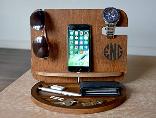 Mens Docking Station Gift Ideas for Men Mens gift Gifts for Him Gifts for Dad Iphone docking station Wooden valet Personalized gifts