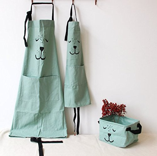 YOLOPLUS 2 PACK Cotton Parent and Child Apron,Mama 29.5-Inchx22.8-Inch,Kids 21.7-Inchx15.8-Inch,Green Color Antifouling for Cooking,Baking,Painting,Coffee Shop((Parent-child Suit Green) ()