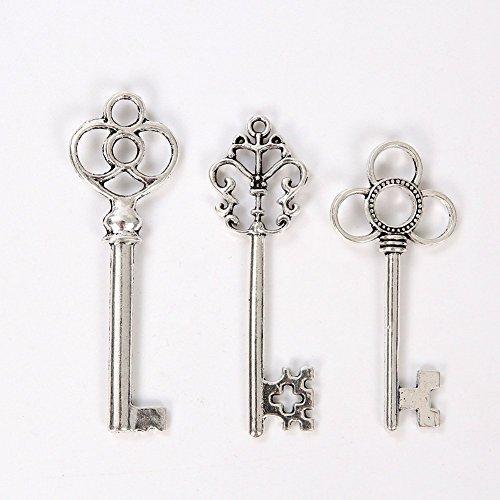 Mixed Set of 30 Vintage Skeleton Keys in Antique Silver-3...