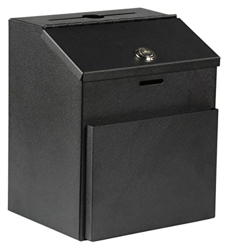 Suggestion Box With Lock - MCB ~ Metal Suggestion Box ~ with Lock for Wall Mount ~ Tabletop Use ~ Locking Hinged Lid ~ Pocket for Donation Forms or Envelopes
