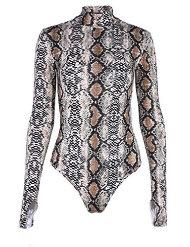 LAUWEE Women's Pullover Snakeskin Tops Bodysuit Pullover Long Sleeves Shirt