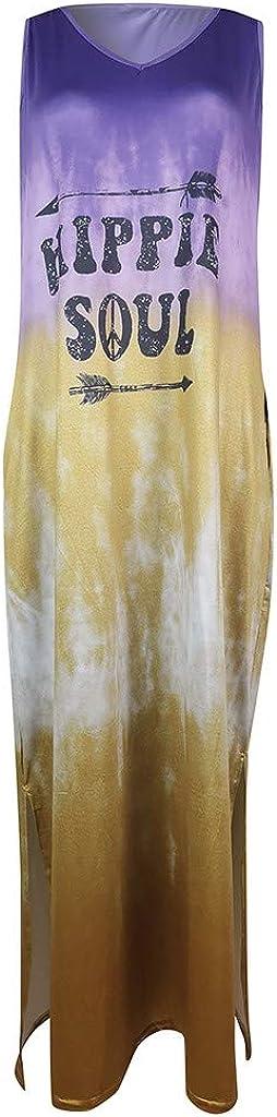 Xchenda Womens Casual Dress Long T-Shirt Maxi Dress Gradient Tie Dye Short Sleeve Dresses for Women with Pocket Long Dress