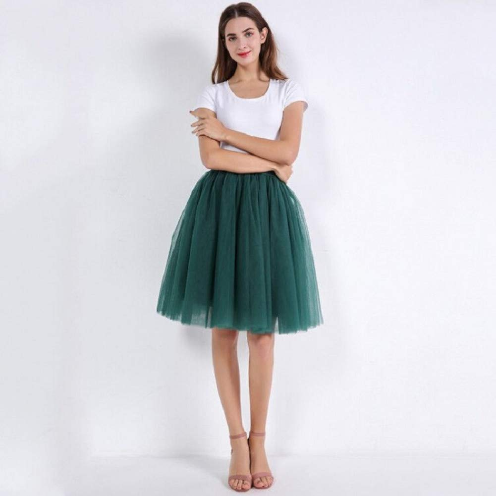 Dark green WHFDBZQ Mesh Pleated 7 Layers Dance Tulle Skirt Fashion Tutu Skirts Womens Petticoat Elastic Belt Lolita