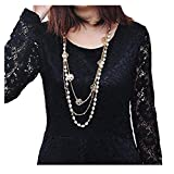 SealSee Women's Elegant Pearl Flower Sweater Chain Long Pendant Necklace Fashion Jewelry