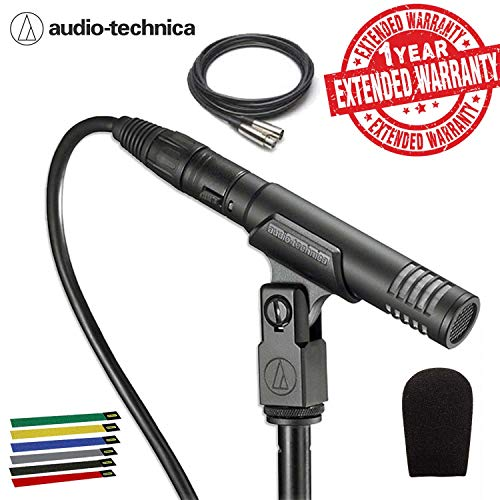 Audio-Technica Pro 37 Small-Diaphragm Cardioid Condenser Microphone with 10-Ft XLR, Cable Ties, Carrying Case and 1-Year Extended Warranty