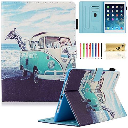 Dteck iPad 9.7 Inch 2017 Case / iPad Air 2 Case / iPad Air Case - PU Leather Multi-Angle Folio Stand Smart Case with Auto Sleep/Wake Feature for Apple iPad 2017 Model, iPad Air 1 2, Animal Bus