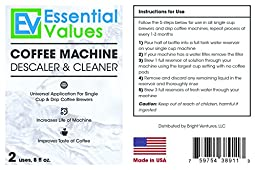 Keurig Descaler (2 PACK), Universal Descaling Solution For Keurig, Delonghi, Nespresso Descaling And All Single Use, Coffee Pot & Espresso Machines By Essential Values