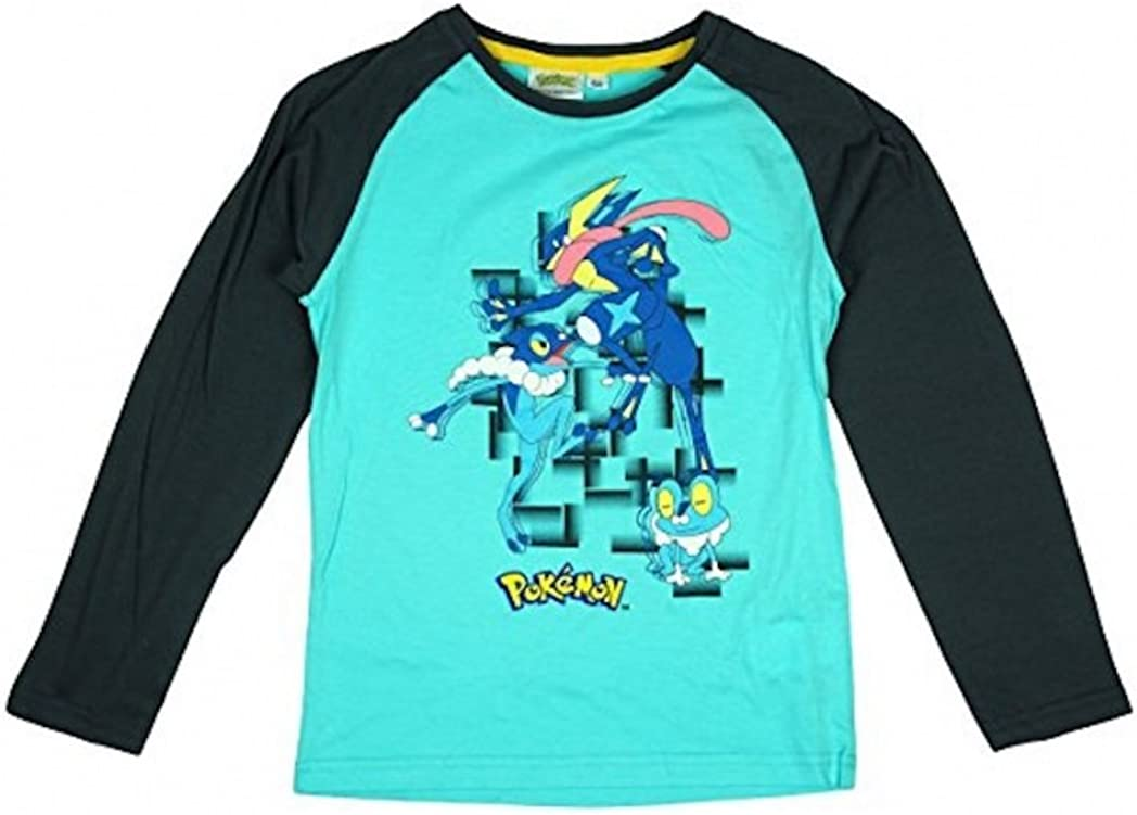 9-10 Years Pokemon Boys Long Sleeve T-Shirt Top Winter Christmas Turquoise
