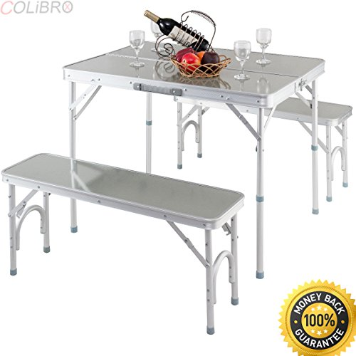 COLIBROX--Aluminum Portable Folding Picnic Table Camping Suitcase w/ Bench 4 Seat Outdoor. portable picnic table with benches. 4-seater portable aluminium folding picnic table. suitcase folding (4 Seater Bench)