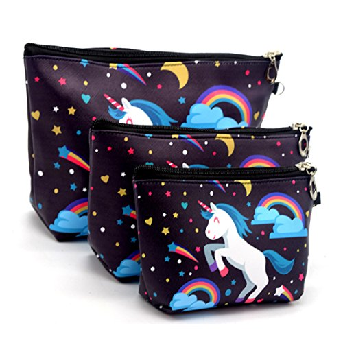 3pcs Waterproof Fabric Cosmetic Bags Portable Travel Toiletr