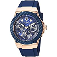 GUESS Women's Stainless Steel Silicone Watch, Color: Blue/Rose Gold-Tone (Model: U1094L2)