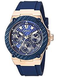 GUESS Reloj de cuarzo para mujer, acero inoxidable, estilo casual, Oro rosa/Azul, NS