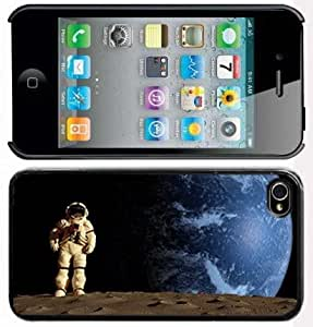 Apple iPhone 4 4S 4G Black 4B166 Hard Back Case Cover Color Astronaut on Moon in Space