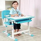 BestMassage Children Desk Kids Study Child School Adjustable Height Children's Table Chair Set with Storage Perfect Gift For Kids-Blue
