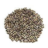 uxcell® 300Pcs Copper Tone Metal 1/4-20 UNC Rivet Nut Flat Head Insert Nutsert for Car
