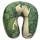 DMN U-Shaped Neck Pillow Green Wood Pillows Soft Convertible Portable Multifunctional For Travel Reading And Sleeping