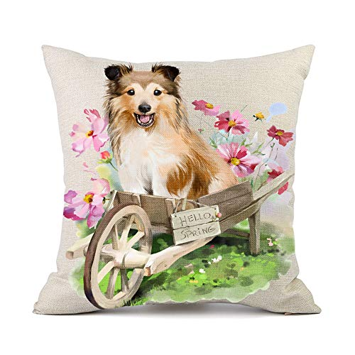 Moyun Shetland Sheepdog Dog Flowers Pattern Cotton Linen Throw Pillow Covers Car Sofa Home Sheltie Decor 45 x 45 cm