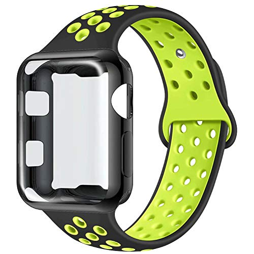 (ADWLOF Compatible with Apple Watch Band with Case 42mm, Silicone Replacement Strap with Screen Protector Cover for Wristband for iWatch Series 3/2/1, Nike+, Sport, Edition,S/M,M/L,Black)